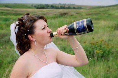 KC Wedding DJ Drunk Bride Drinking Champagne