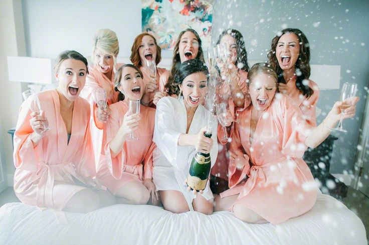 kc wedding dj wedding planner champagne bride bed bridesmaids celebrate