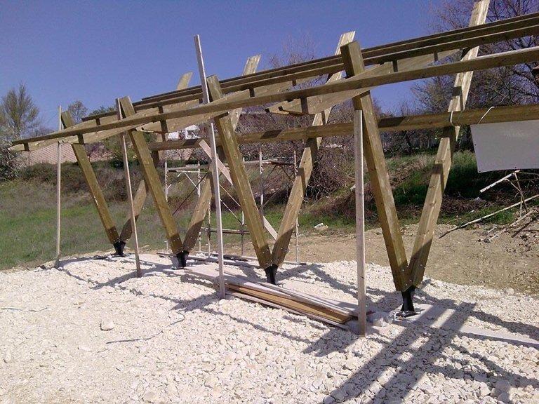 Supporto in legno per pannelli fotovoltaici