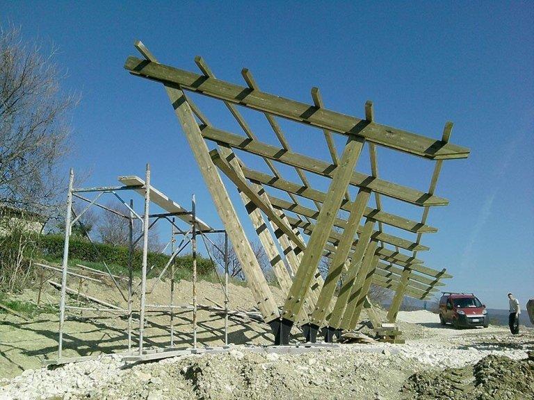 Struttura in legno per pannelli fotovoltaici