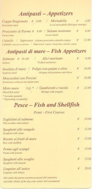 antipasti e primi di pesce