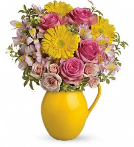 Teleflora's Sunny Day Pitcher Of Charm Deluxe