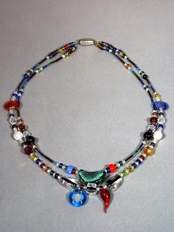 Collier doppio perline vetro murano - Vetreria Murano Glam Treviso