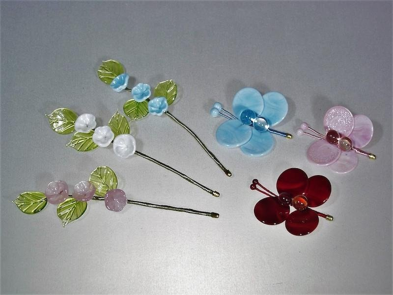Glass flowers and butterflies - Murano