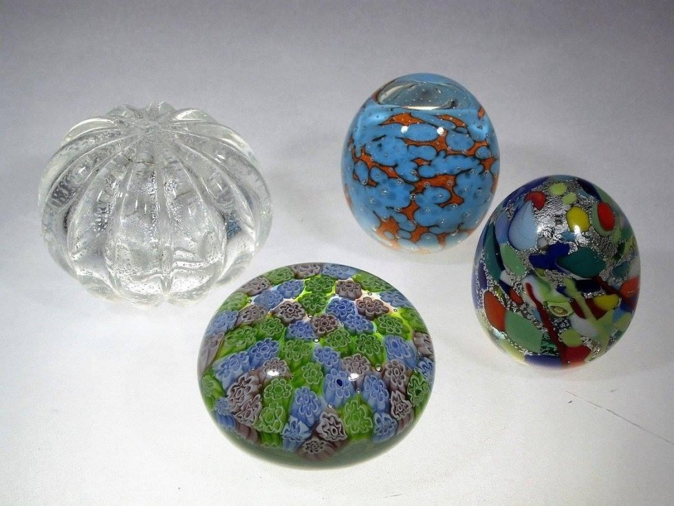 decorated glass paperweights