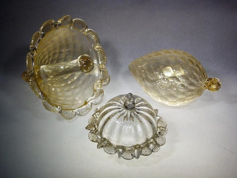 Pendenti lampadario in foglia oro zecchino - Produzione Murano Glam