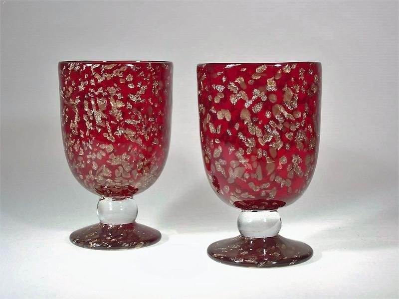 Bicchieri murano con inclusioni in avventurina