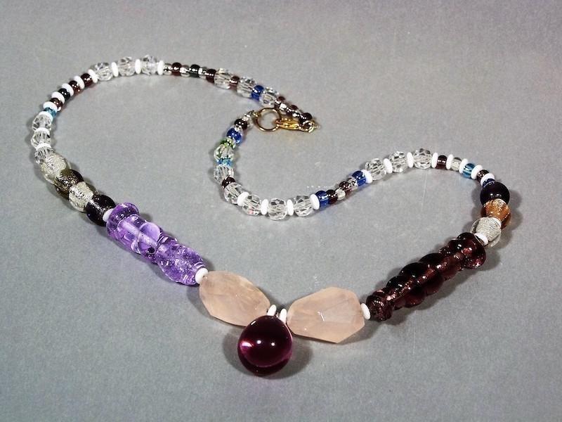 Collana vetro viola e prugna - Murano