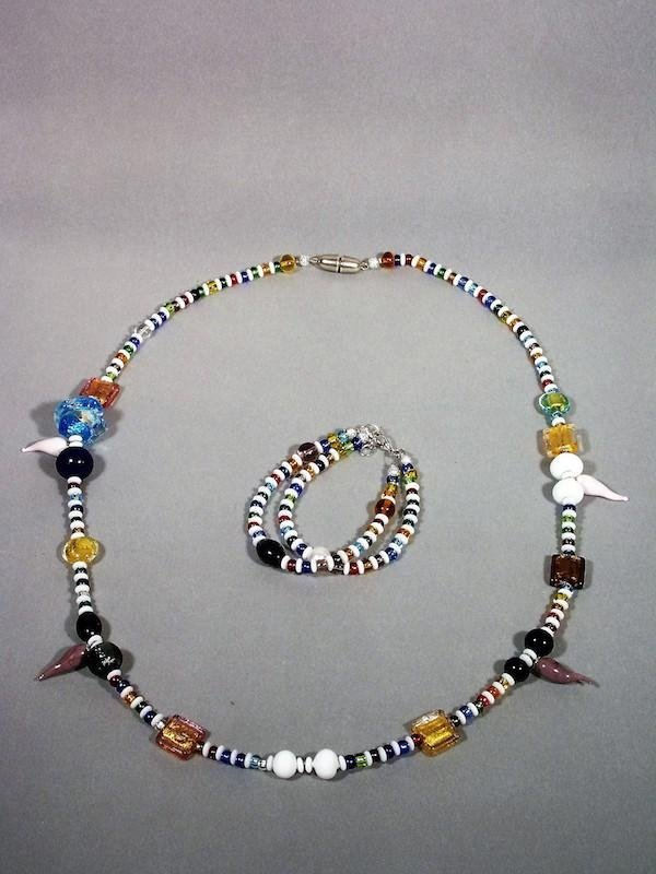 Necklace and bracelet set murano glass- Treviso