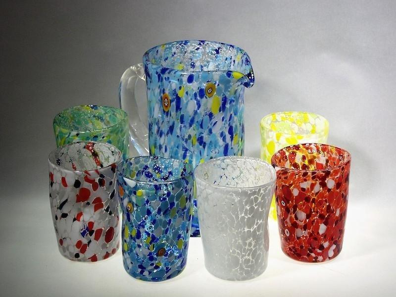 Set tavola in vetro mix colori e foglia argenteo - Vetreria artistica Treviso