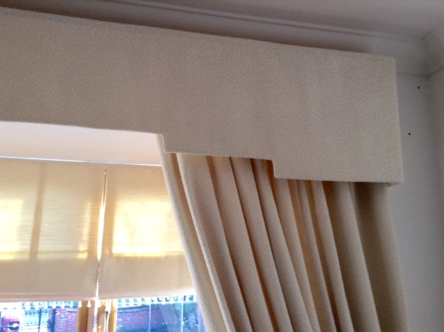 Cream curtain with fabric pelmet
