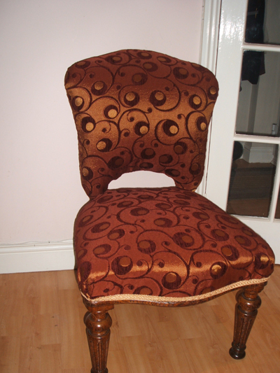 A brocade dining chair