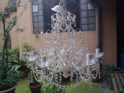 lampada con cristalli
