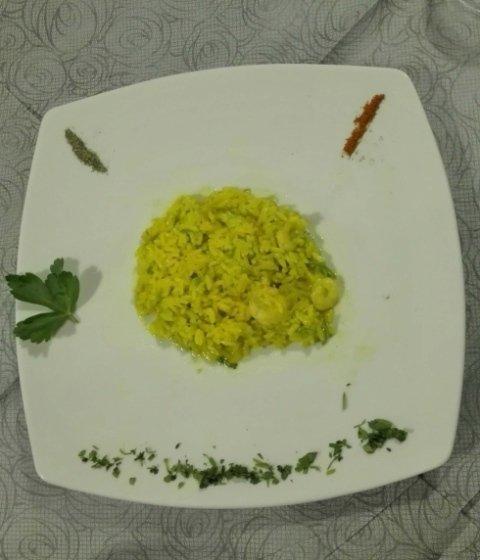 riso zafferano gamberetti di sicilia e zucchine