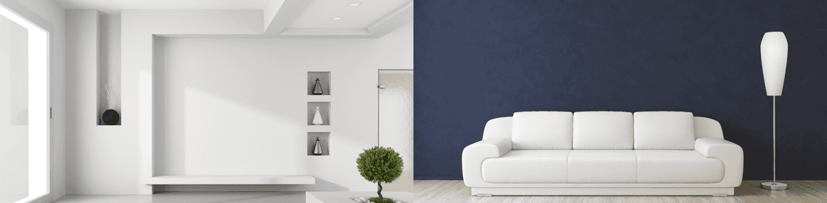 white and blue wall