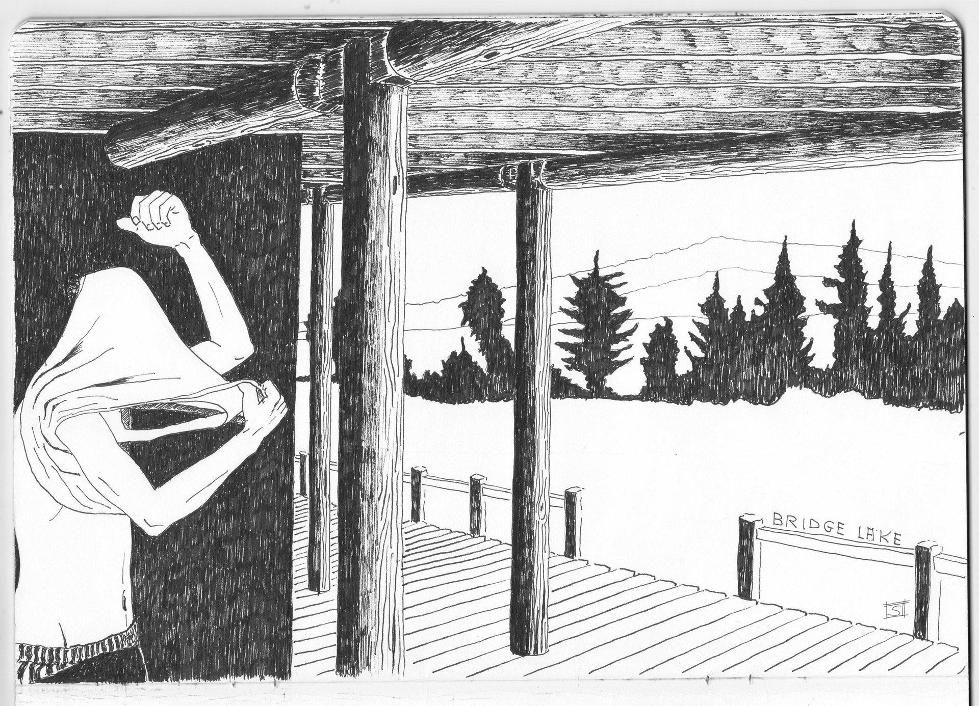 Sebastiano Toma sketches of Canada - Bridge Lake