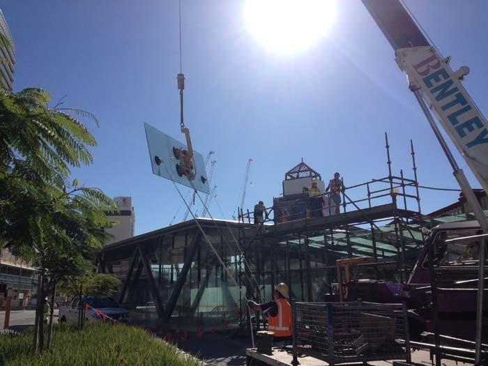 crane with glass