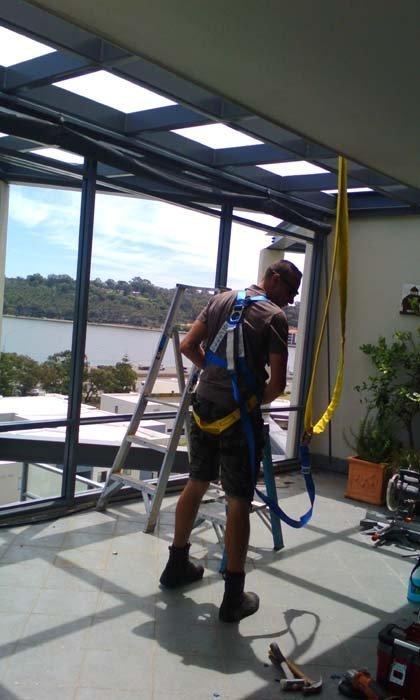 glass construction installation