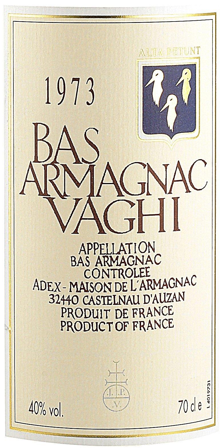 Etichetta bottiglia Bar Armagnac Vaghi