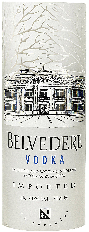 Etichetta bottiglia Vodka Belvedere