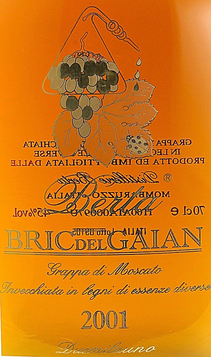 Etichetta bottiglia Grappa di moscato