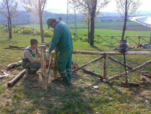 Lavoratori ponendo una palizzata di piccoli tronchi di legno