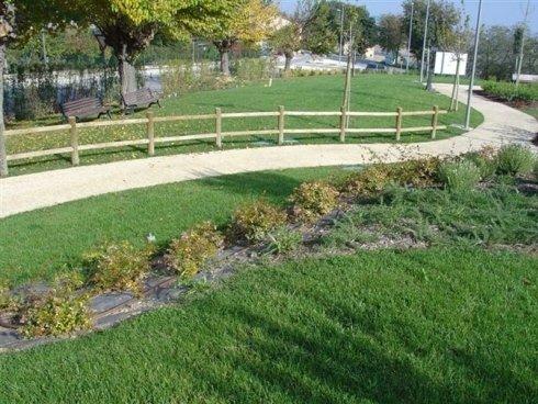 Strada che attraversa un parco,il disegno segue la forma del terreno
