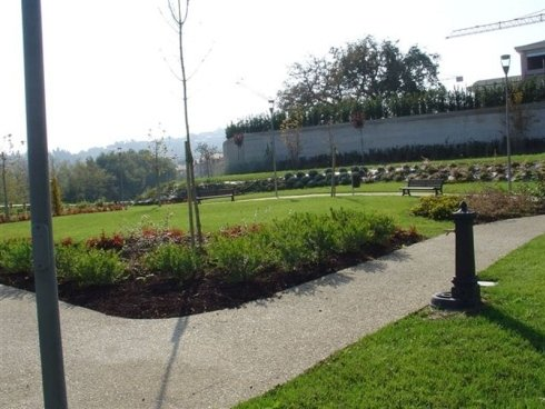 Prospettiva di un piccolo parco con un disegno di piante nane
