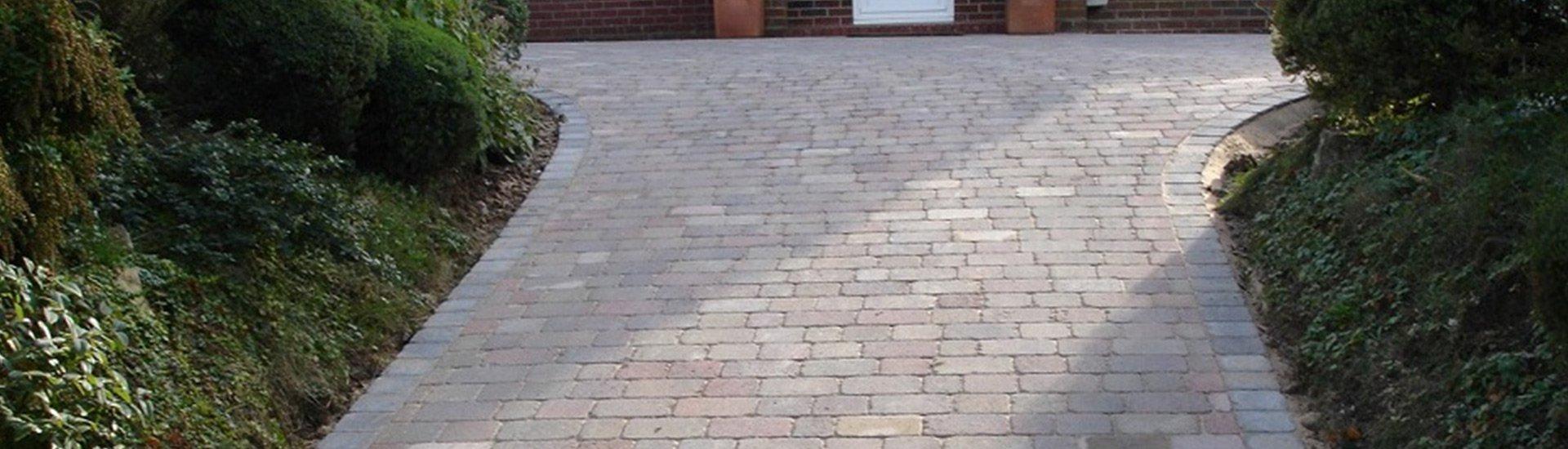 grey tiled driveway
