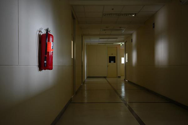 fire extinguisher in corridor