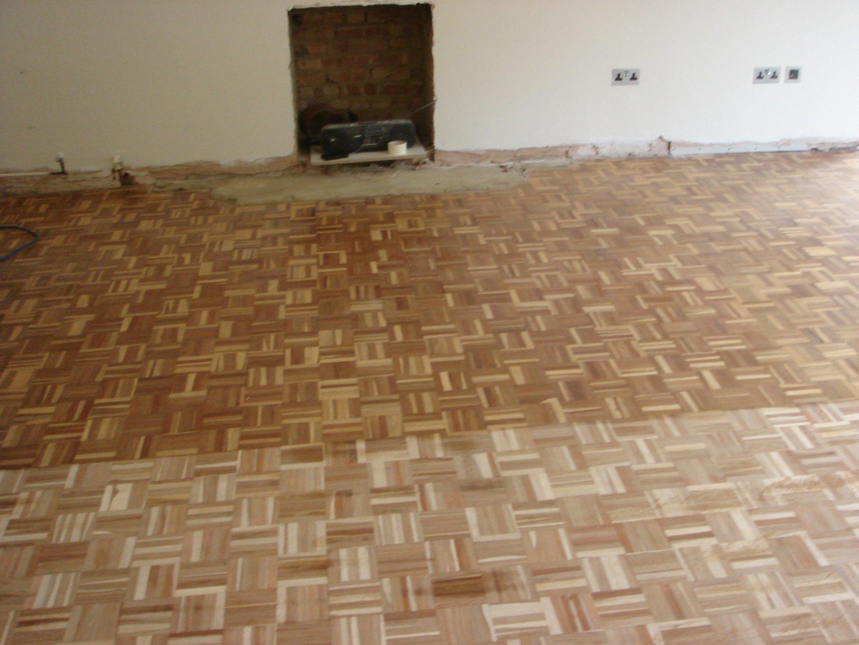 refurbished wood block floor