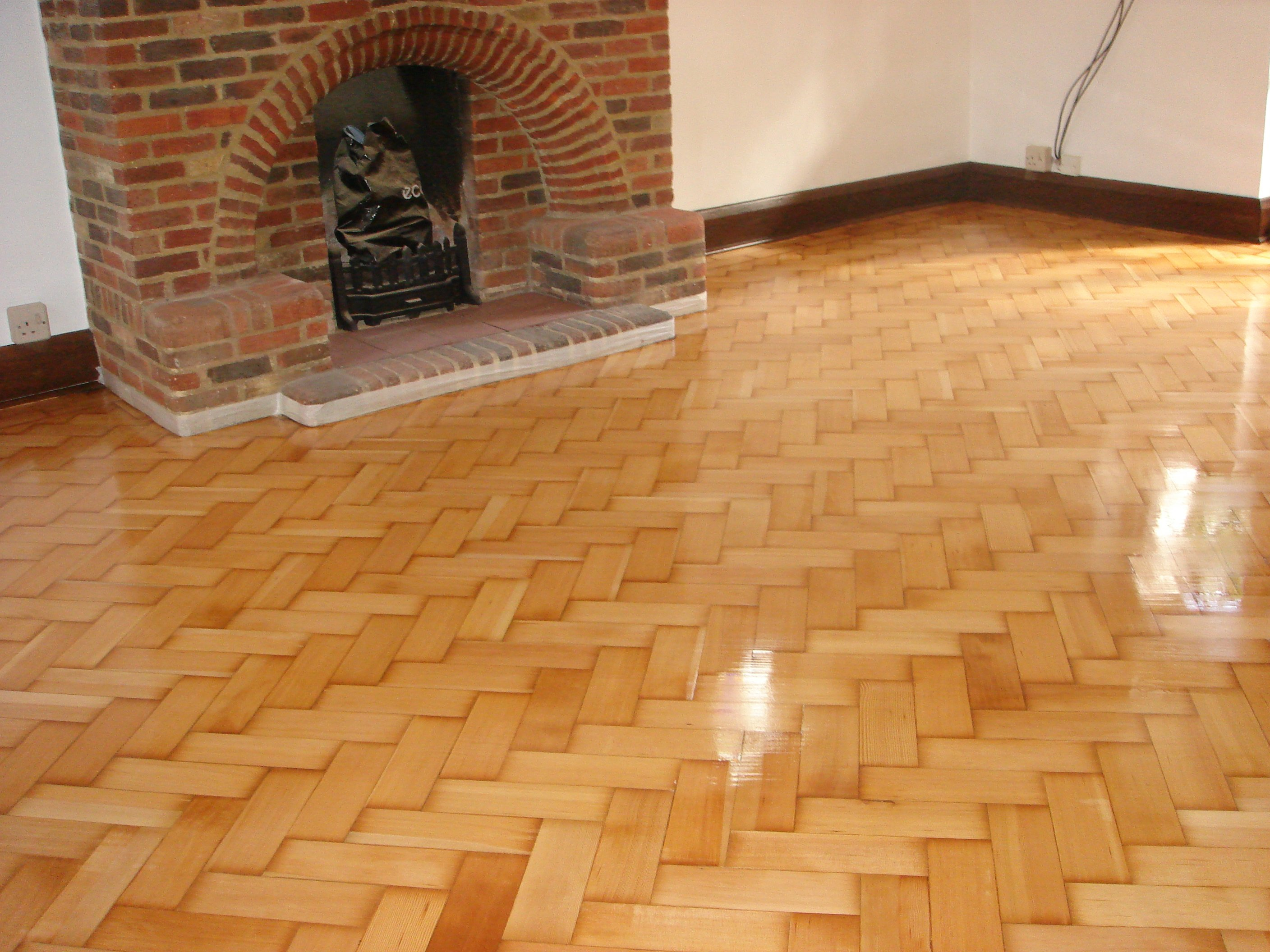 refurbished and polished parquet floor