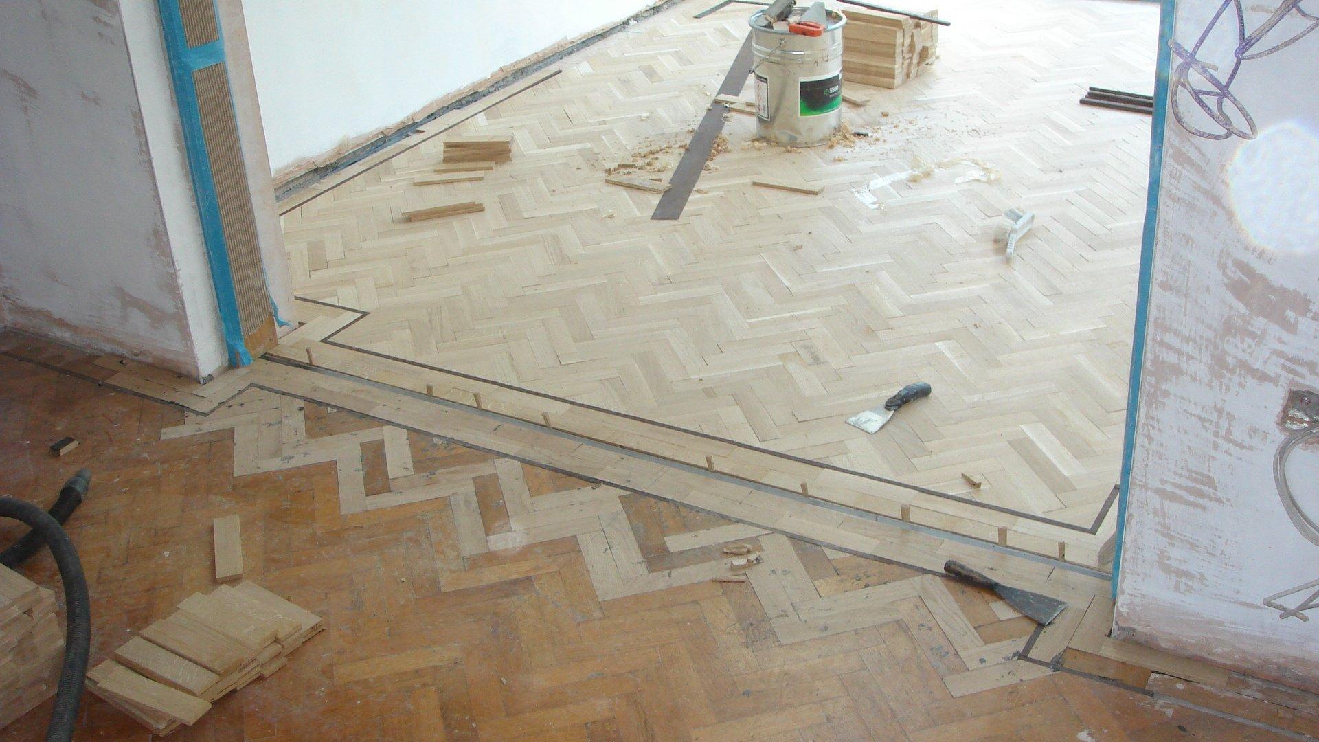 parquet flooring during refurbishment