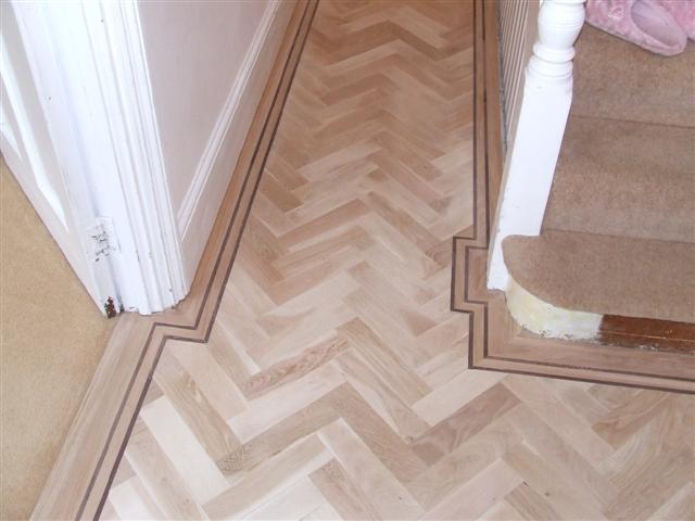 white stained parquet floor