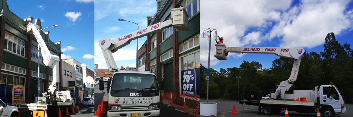 Island Paint Pro elevated platforms painting with truck nifty lift Launceston