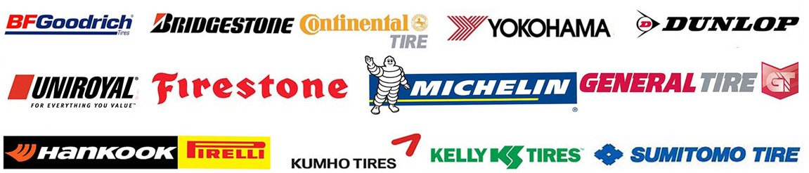 Brands we provide, such as Michelin, Kumho tires, Sumitomo tire, Dunlop, and many more