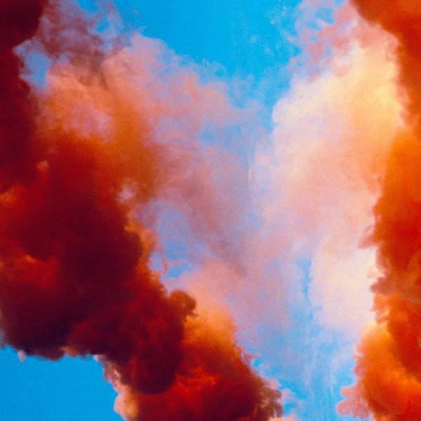 coloured smoke from a daytime pyrotechnic display