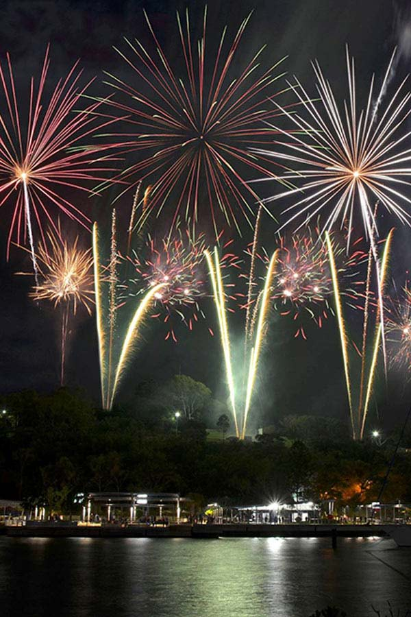 Colorful New Years Eve fireworks in Brisbane