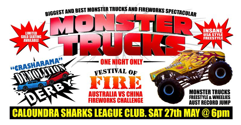 Sea Fm Festival Of Fire Sunshine Coast Monster Trucks Smash