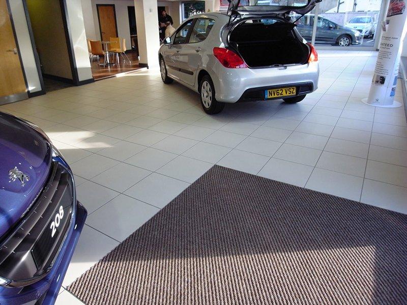 flooring in a car showroom