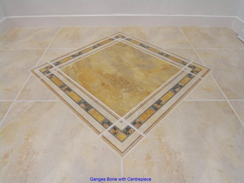Ceramic tiles with a diamond centrepiece