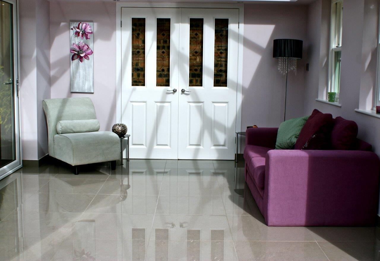 Polished porcelain flooring