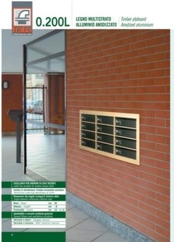 Casellario postale ad incasso in legno multistrato, in alluminio anodizzato