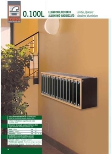 Casellario postale per androni di case recenti: legno multistrato, alluminio anodizzato