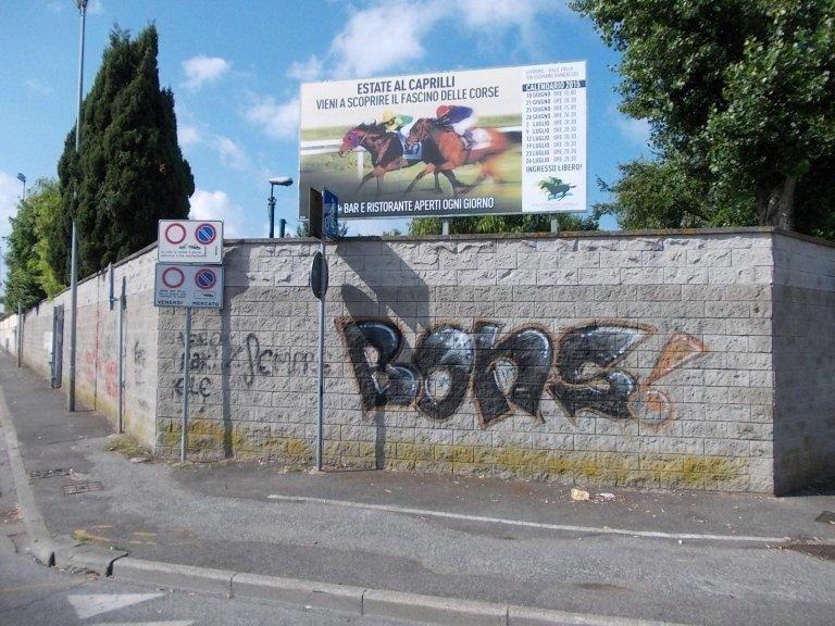 un cartello con scritto estate a Caprilli vieni a scoprire il fascino delle corse e dei cavalli