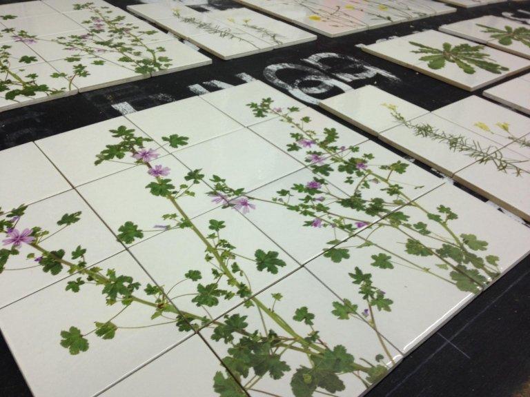 delle piastrelle a fiori viola e foglie verdi