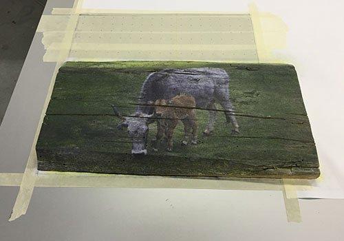 un asse di legno con un'immagine di una mucca e accanto un vitello