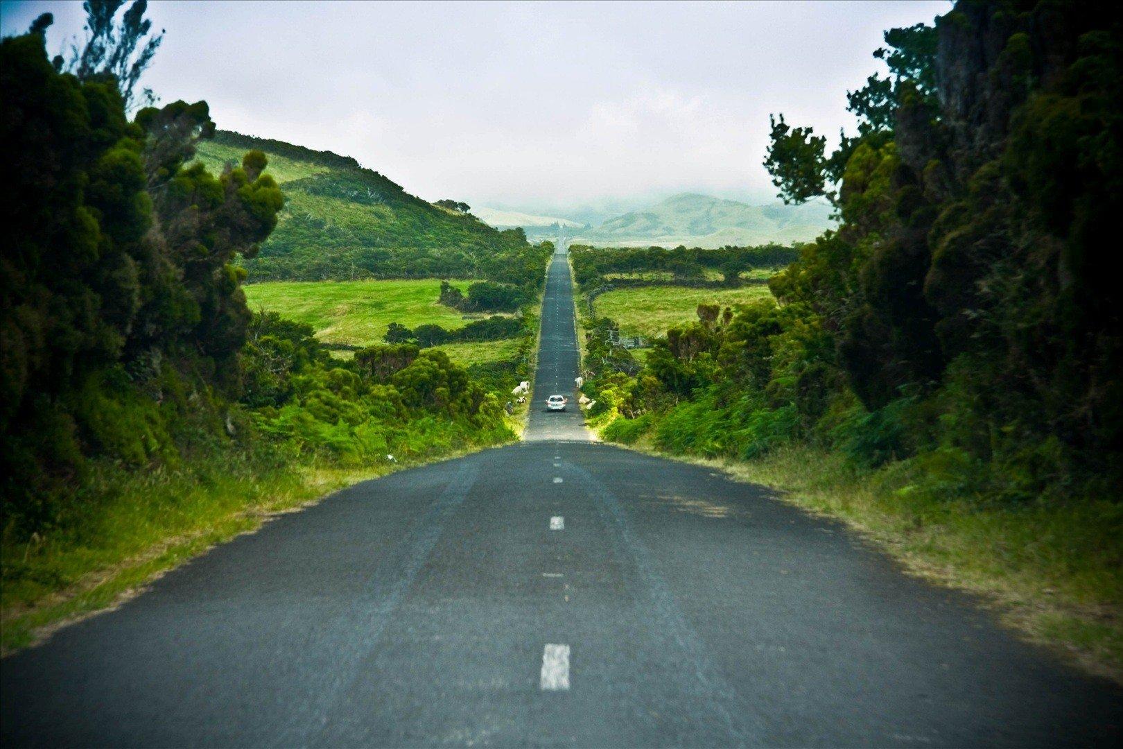 Azores bike tour long road
