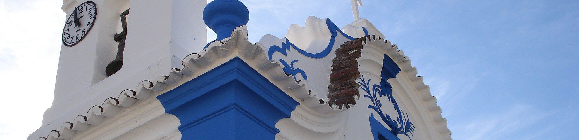Alentejo chapel against the blue sky in southern Portugal