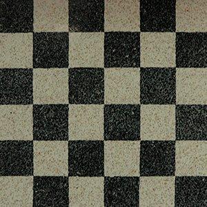 pavimento di color bianco e nero a scacchi